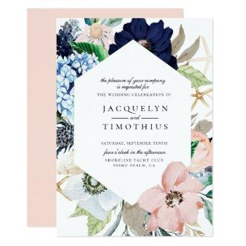navy and blush floral frame wedding invitation
