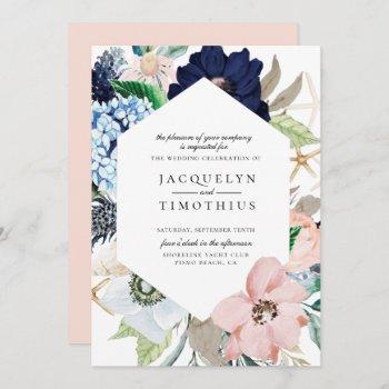 navy and blush floral frame wedding invitation
