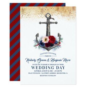 navy and burgundy floral anchor nautical wedding invitation