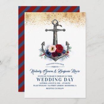 navy and burgundy floral anchor nautical wedding invitation
