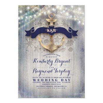 Small Navy And Gold Nautical Rustic Anchor Beach Wedding Invitation Front View