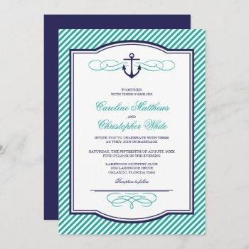 navy and teal nautical anchor wedding invitation