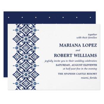 navy azulejo | spanish tile border wedding invitation