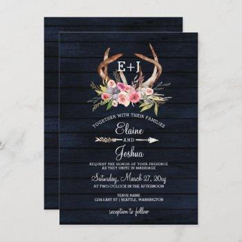navy blooming antlers country chic wedding invitation