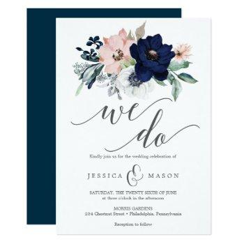 navy blooms wedding invitation