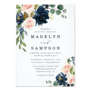 Small Navy Blue And Blush Pink Floral Country Wedding Invitation Front View