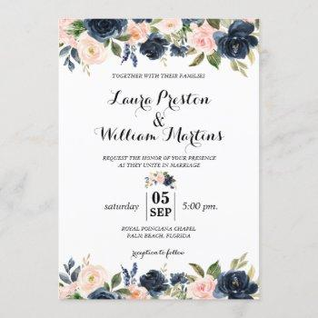 navy blue and blush pink floral watercolor wedding invitation