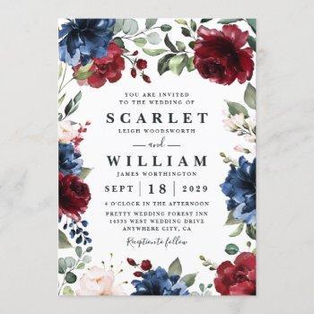 navy blue and burgundy blush pink floral wedding invitation