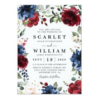 Small Navy Blue And Burgundy Blush Pink Floral Wedding Invitation Front View
