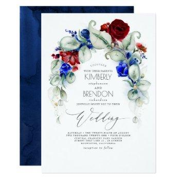 navy blue and burgundy red flowers elegant wedding invitation