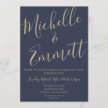 navy blue and gold script wedding invitation