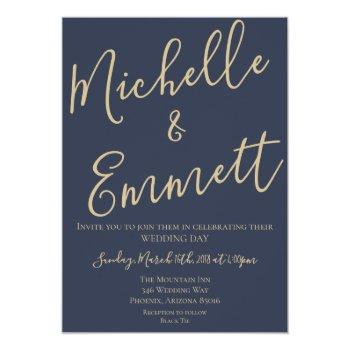 navy blue and gold script wedding invitation