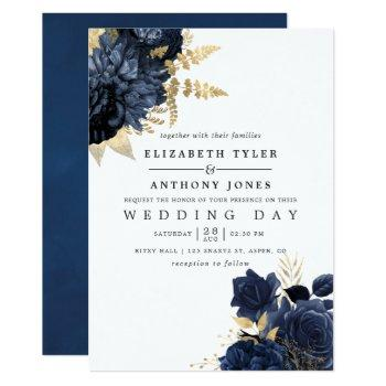 navy blue and gold vintage shabby roses wedding invitation