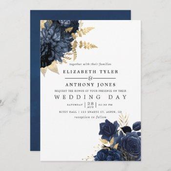 navy blue and gold vintage shabby roses wedding invitation
