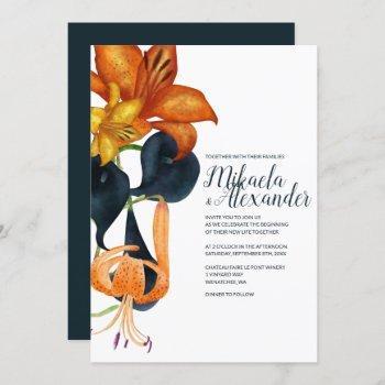 navy blue and gold wedding invitation