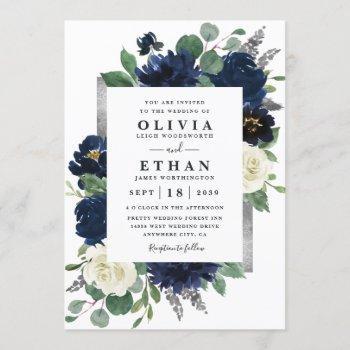 navy blue and silver elegant ivory floral wedding invitation