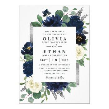 navy blue and silver elegant ivory floral wedding invitation
