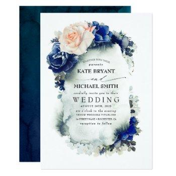 navy blue and soft peach floral boho wedding invitation