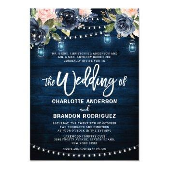 navy blue blush floral rustic string light wedding invitation