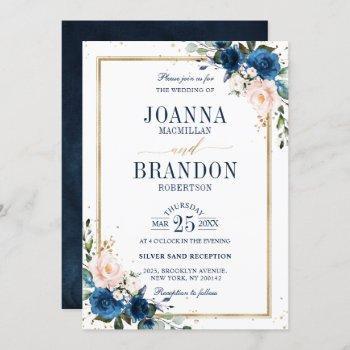 navy blue blush pink rose boho geometric wedding invitation