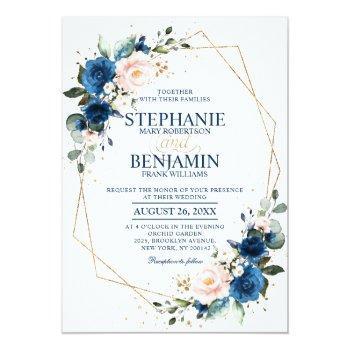 Small Navy Blue Blush Pink Rose Boho Geometric Wedding Invitation Front View