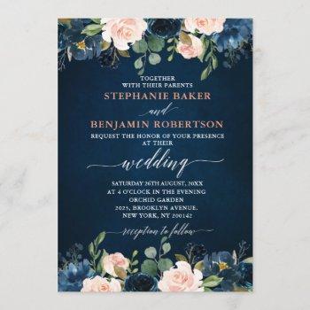 navy blue blush pink rose boho wedding invitation