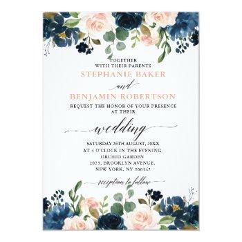 Small Navy Blue Blush Pink Rose Boho Wedding Invitation Front View