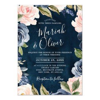 navy blue blush pink rose gold boho wedding invitation