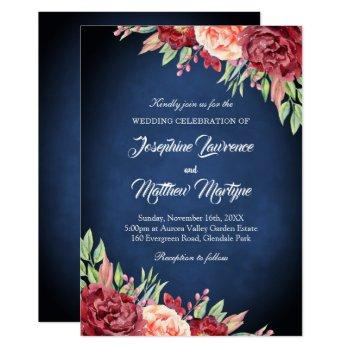 navy blue burgundy blush elegant floral wedding invitation