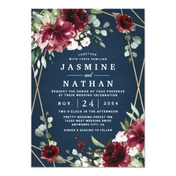 navy blue burgundy blush pink gold floral wedding invitation