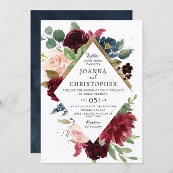 navy blue burgundy blush pink rose boho wedding invitation
