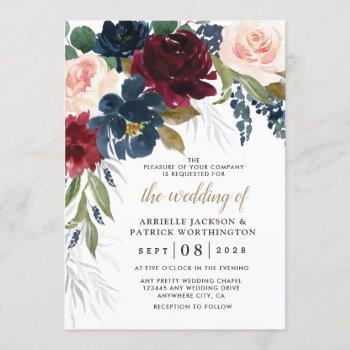 navy blue burgundy blush pink silver gold wedding invitation