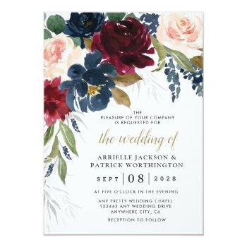 Small Navy Blue Burgundy Blush Pink Silver Gold Wedding Invitation Front View