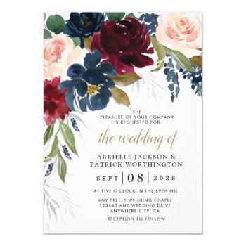 navy blue burgundy blush pink silver gold wedding invitation
