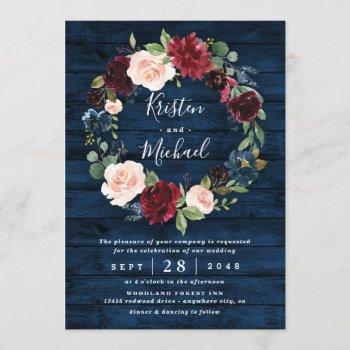 navy blue burgundy blush watercolor wreath wedding invitation