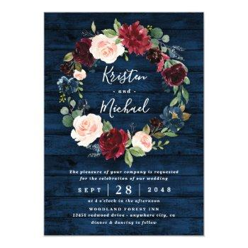 navy blue burgundy blush watercolor wreath wedding invitation