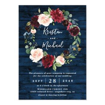 navy blue burgundy blush watercolor wreath wedding magnetic invitation
