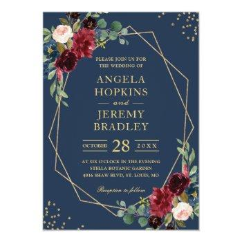 Small Navy Blue Burgundy Floral Gold Geometric Wedding Invitation Front View