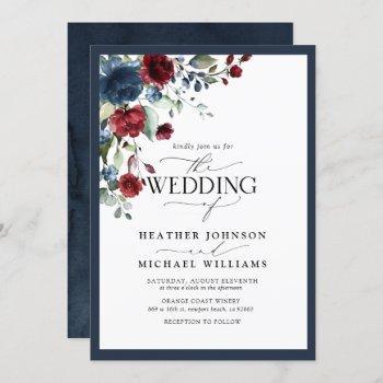 navy blue burgundy floral watercolor script invitation