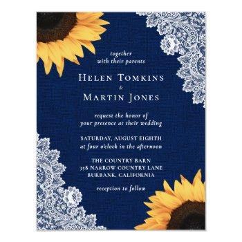 navy blue burlap and lace sunflower wedding invitation