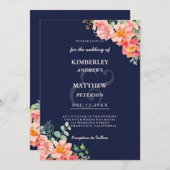 navy blue coral pink watercolor elegant wedding invitation
