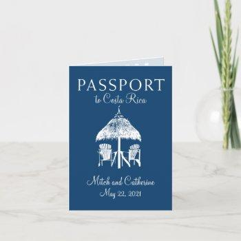 navy blue costa rica passport wedding invitation
