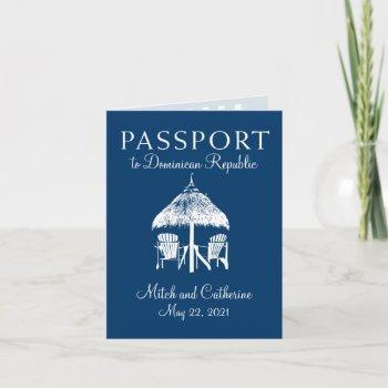 navy blue dominican republic passport wedding invitation