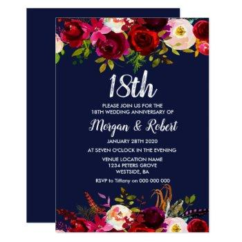 navy blue floral 18th wedding anniversary invite