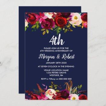 navy blue floral 4th wedding anniversary invite