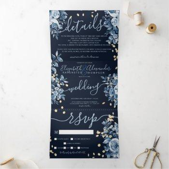 navy blue floral watercolor chic gold wedding tri-fold invitation