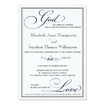 navy blue god is love christian wedding invitation