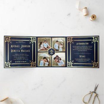 navy blue gold art deco photo collage wedding tri-fold invitation