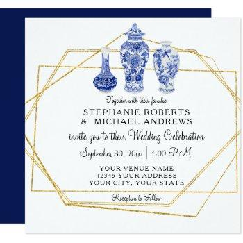 navy blue gold chinoiserie chinese vintage pottery invitation