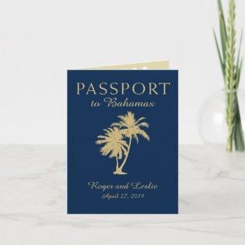 navy blue gold palm tree bahamas wedding passport invitation